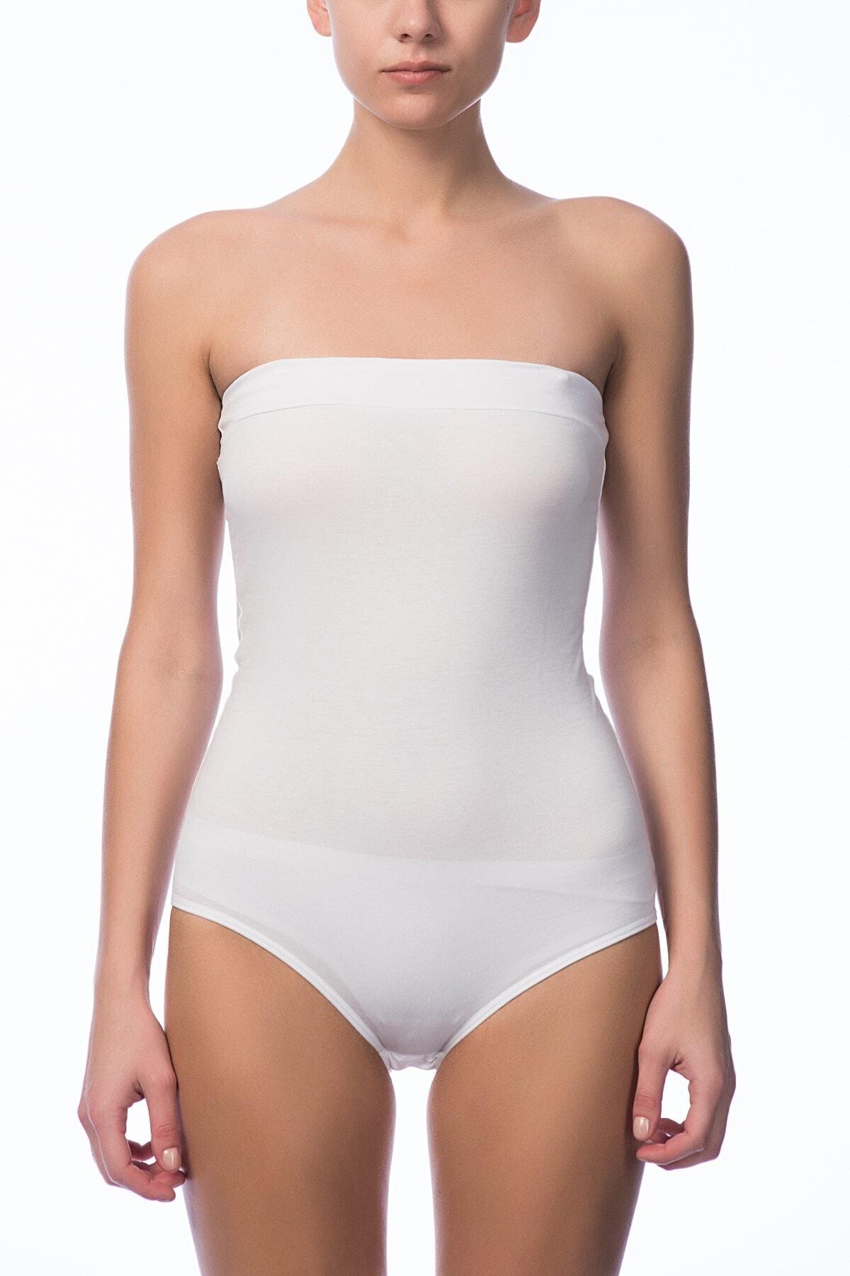 Kadın Beyaz Straplez Çıtçıtlı Body 2985