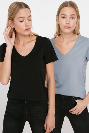 TRENDYOLMİLLA Siyah-Gri %100 Pamuk V Yaka 2'li Paket Örme T-Shirt TWOSS20TS0142 0