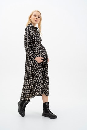 MUMELLA Kadın Krem Siyah Geometrik Şekilli Elbise 2