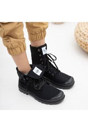 Kesha Kadın Siyah Keten Bağcıklı Bileği Uzun Katlanabilen Spor Ayakkabı 1
