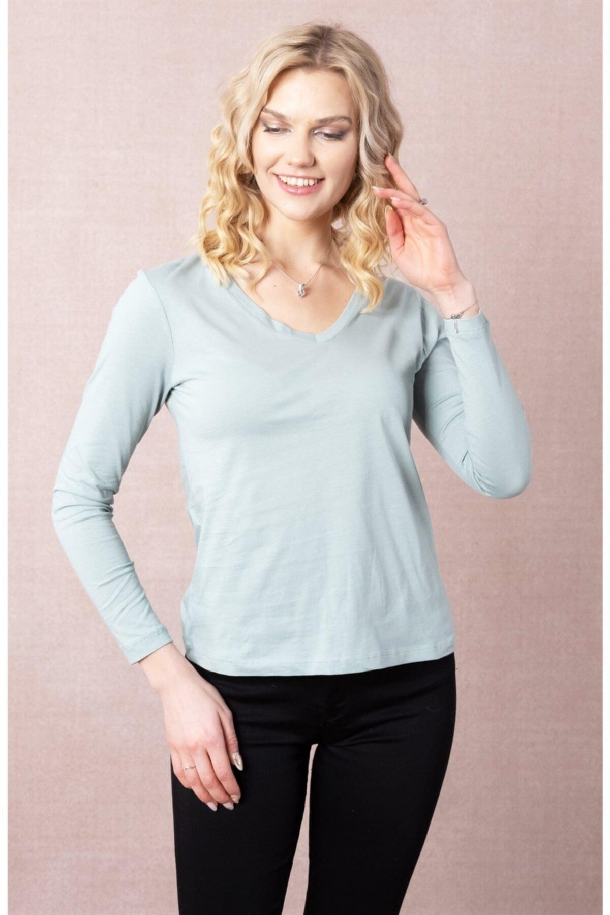 ESPİNA Kadın Yeşil V Yaka Kadın Uzun Kollu T-shirt