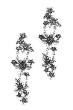 LABALABA Kadın Antik Gümüş Kaplama Çivili Çiçek Stilizesi Küpe 3