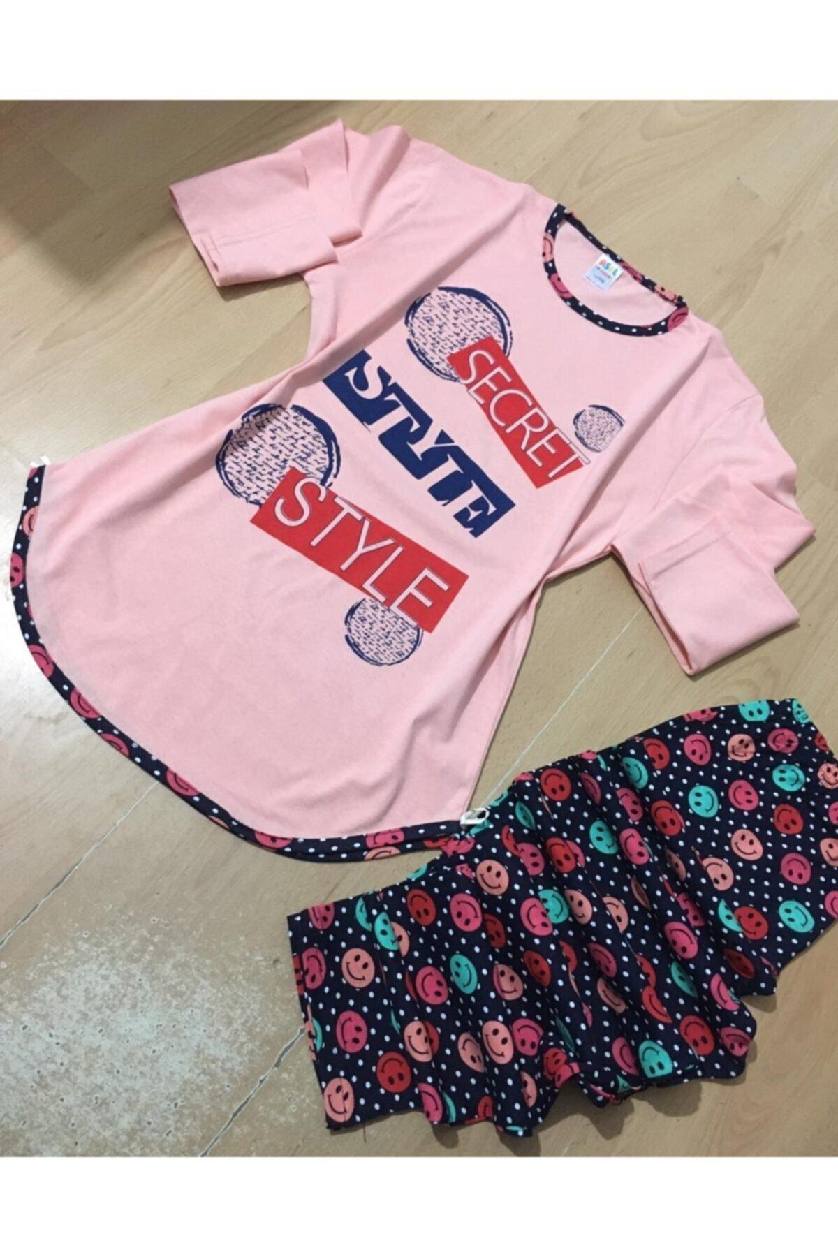 Kız Çocuk Somon Rengi Yazlık Pijama Takımı