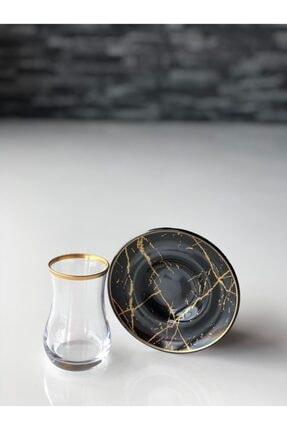 GÜRCÜGLASS Siyah Mermer 12 Prç Çay Seti 2