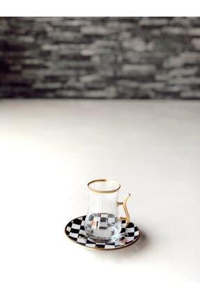 GÜRCÜGLASS Damalı Çay Seti Kulplu 12 Prç 1