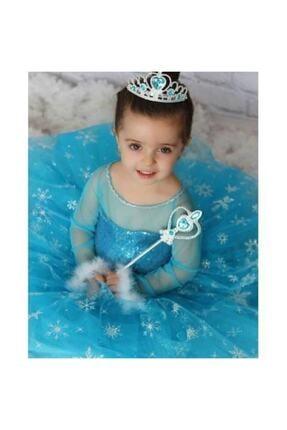 partikirtasiye Kız Çocuk Mavi Elsa Kostüm Saç Taç Asa Eldiven Setli Flama Hediyeli 2
