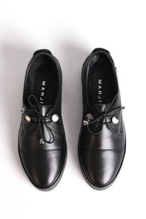 Marjin Kadın Siyah Hakiki Deri Comfort Ayakkabı Demas 0