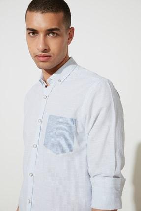 Picture of Açık Mavi Erkek Regular Fit Düğmeli Yaka Flam Parçalı Çizgili Gömlek TMNSS21GO0102