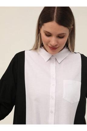 Picture of Büyük Beden Arkası Uzun Iki Renkli Tunik - Siyah Beyaz -
