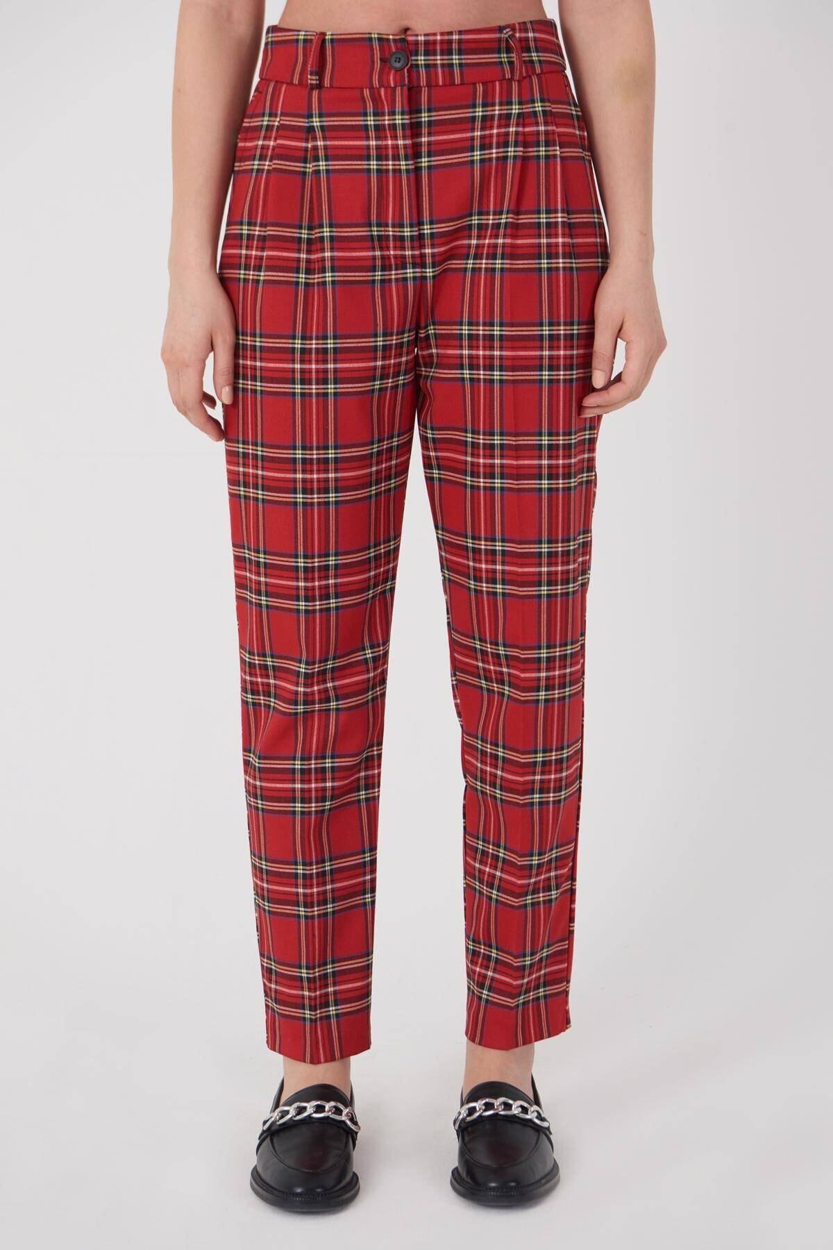 Addax Kadın Kırmızı Ekoseli Pantolon PN21-0222 - X6 ADX-0000023709 2