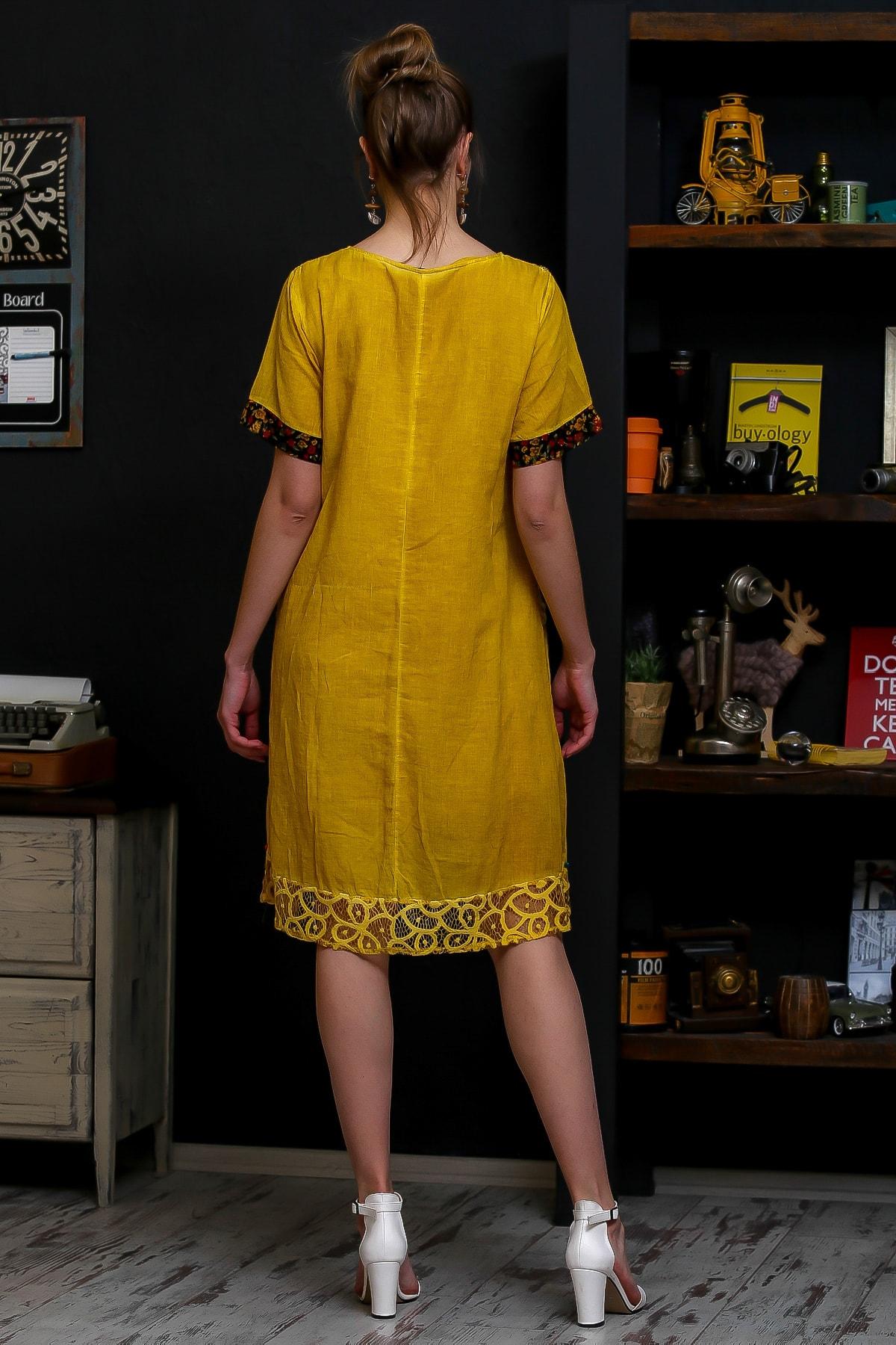 Chiccy Kadın Hardal Robası Dantel El İşi Çiçek Detay Cepli Astarlı Yıkamalı Dokuma Elbise M10160000EL95870 4