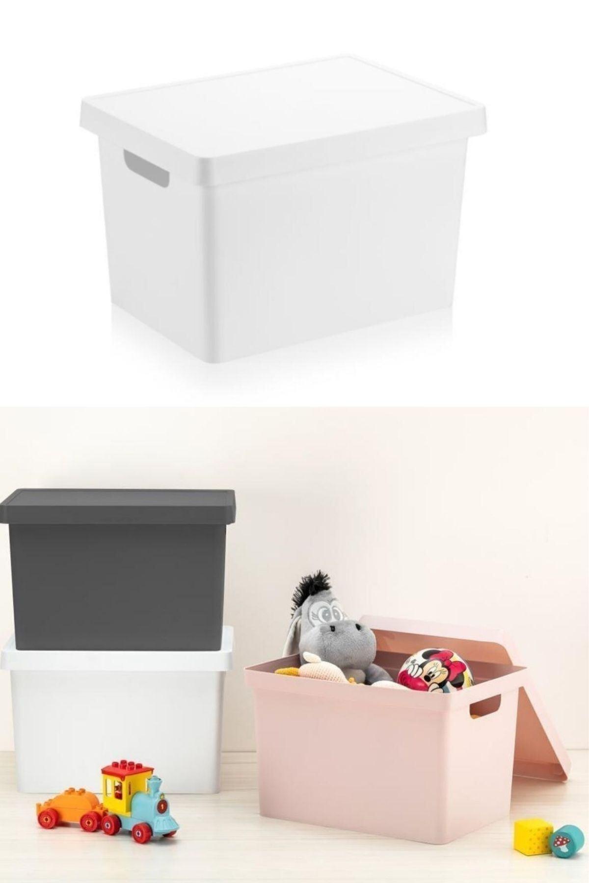 Bi' Nest Kapaklı Kutu 17 Lt. (35x26x22.5cm) Beyaz