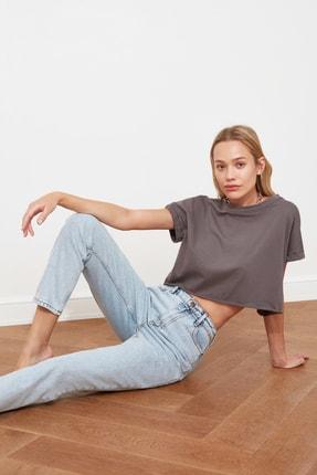 TRENDYOLMİLLA Buz Mavi Asit Yıkamalı Yüksek Bel Mom Jeans TWOSS20JE0164 0