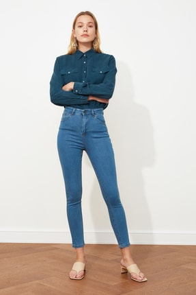 TRENDYOLMİLLA Mavi Yüksek Bel Skinny Jeans TWOSS20JE0301 0