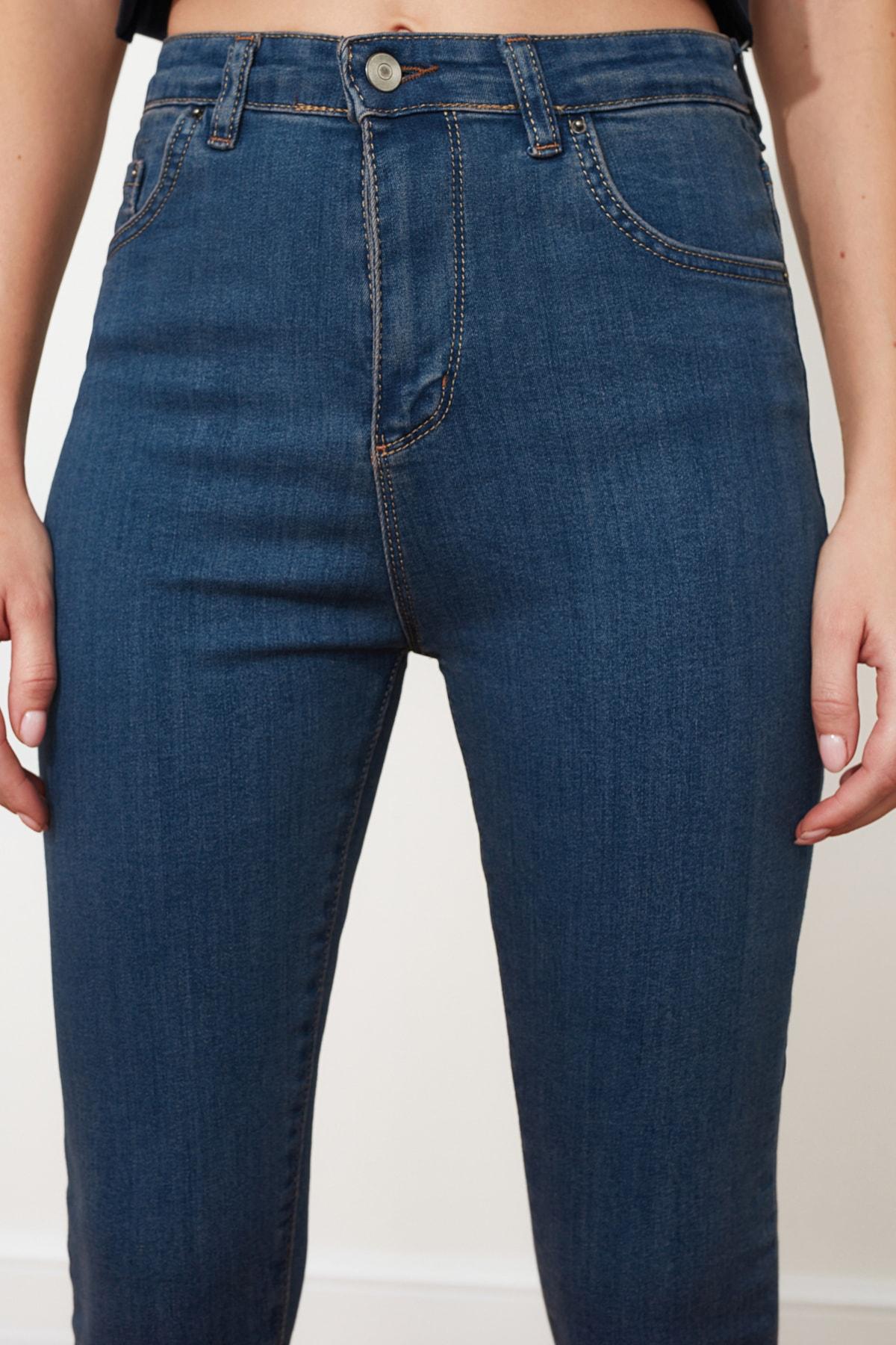 TRENDYOLMİLLA Lacivert Yüksek Bel Skinny Jeans TWOSS20JE0301
