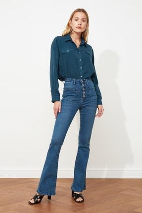 TRENDYOLMİLLA Mavi Cep Detaylı Önden Düğmeli Yüksek Bel Flare Jeans TWOAW21JE0111 3