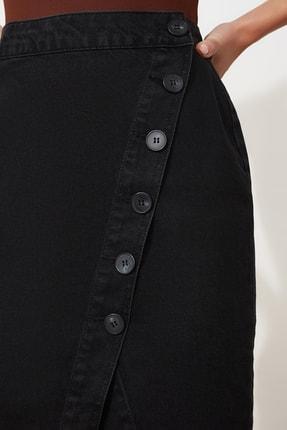 TRENDYOLMİLLA Siyah Düğme Detaylı Kruvaze Denim Etek TWOSS20ET0494 3