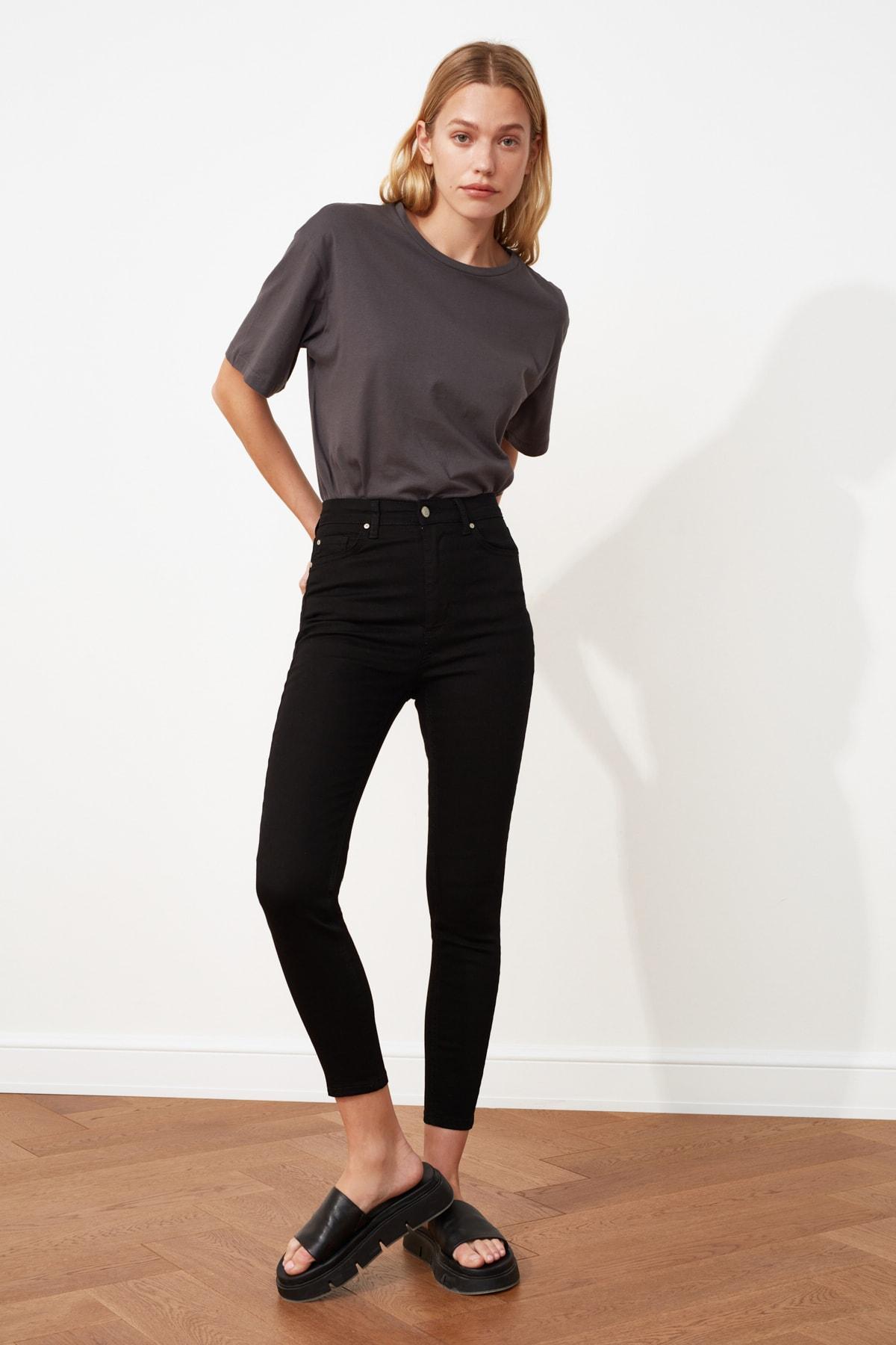 1 org zoom Solmayan Siyah Yüksek Bel Skinny Jeans TWOSS19LR0279