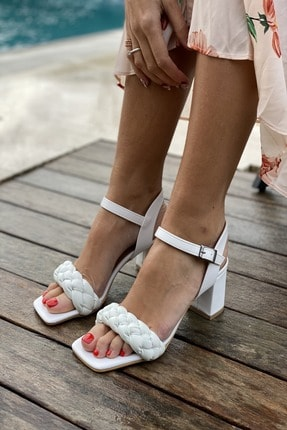 İnan Ayakkabı Küt Burun Örgü Tek Bant Topuklu Ayakkabı 0