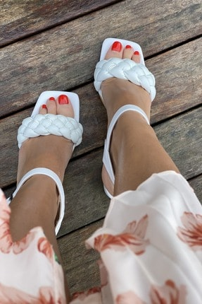 İnan Ayakkabı Küt Burun Örgü Tek Bant Topuklu Ayakkabı 1
