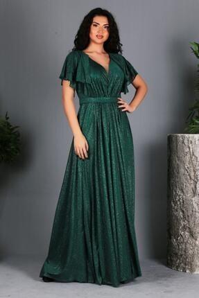 Zümrüt Yeşili Kol Detaylı Uzun Büyük Beden Abiye Elbise TG0007