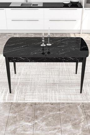 Canisa Concept Siyah Masa+4 Adet Siyah Sandalye Açılabilir Mutfak Masası Takımı 3
