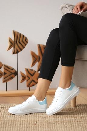 Pembe Potin Kadın Beyaz Mavi Casual Ayakkabı 0
