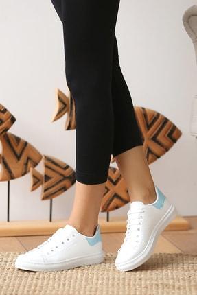 Pembe Potin Kadın Beyaz Mavi Casual Ayakkabı 2