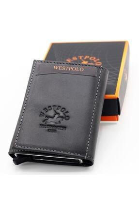 Westpolo Erkek Gri Hakiki Deri Mekanizmalı Cüzdan Kartlık 3
