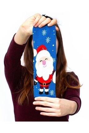 Socks Concept Kadın Mavi Renk Mutlu Noel Baba Desenli Soket Çorap 1