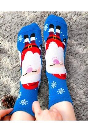 Socks Concept Kadın Mavi Renk Mutlu Noel Baba Desenli Soket Çorap 2
