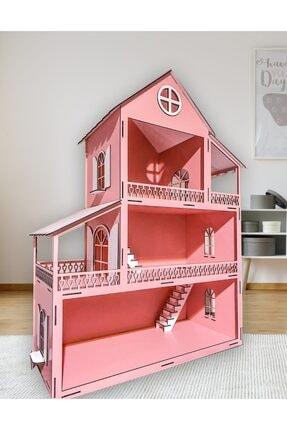 Özçıpa Hediye Pembe Ahşap Barbie Evi 80 cm Eşyalı 1