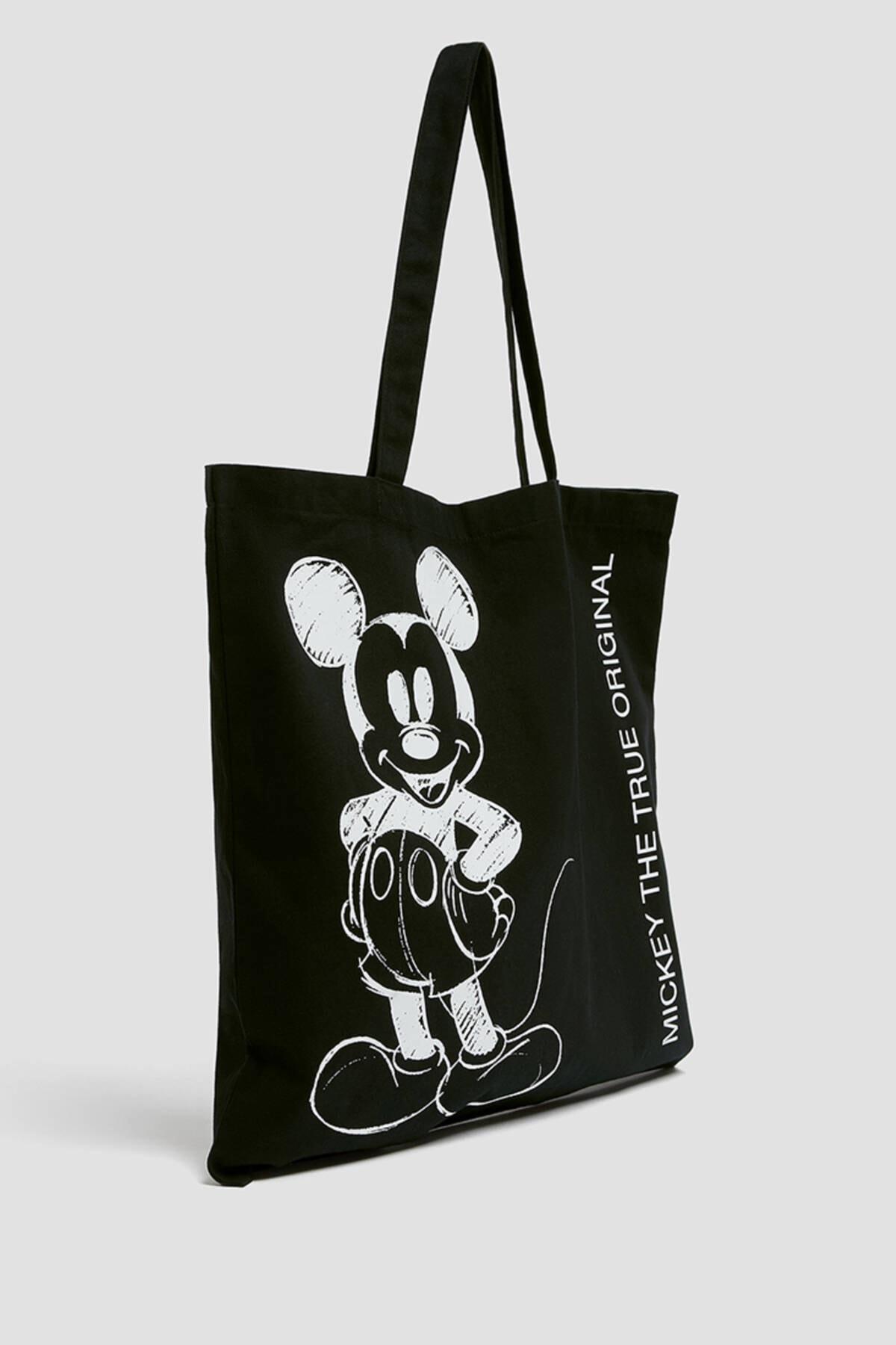 Pull & Bear Kadın Siyah Mickey Mouse Baskılı Tote Çanta 14115740 0