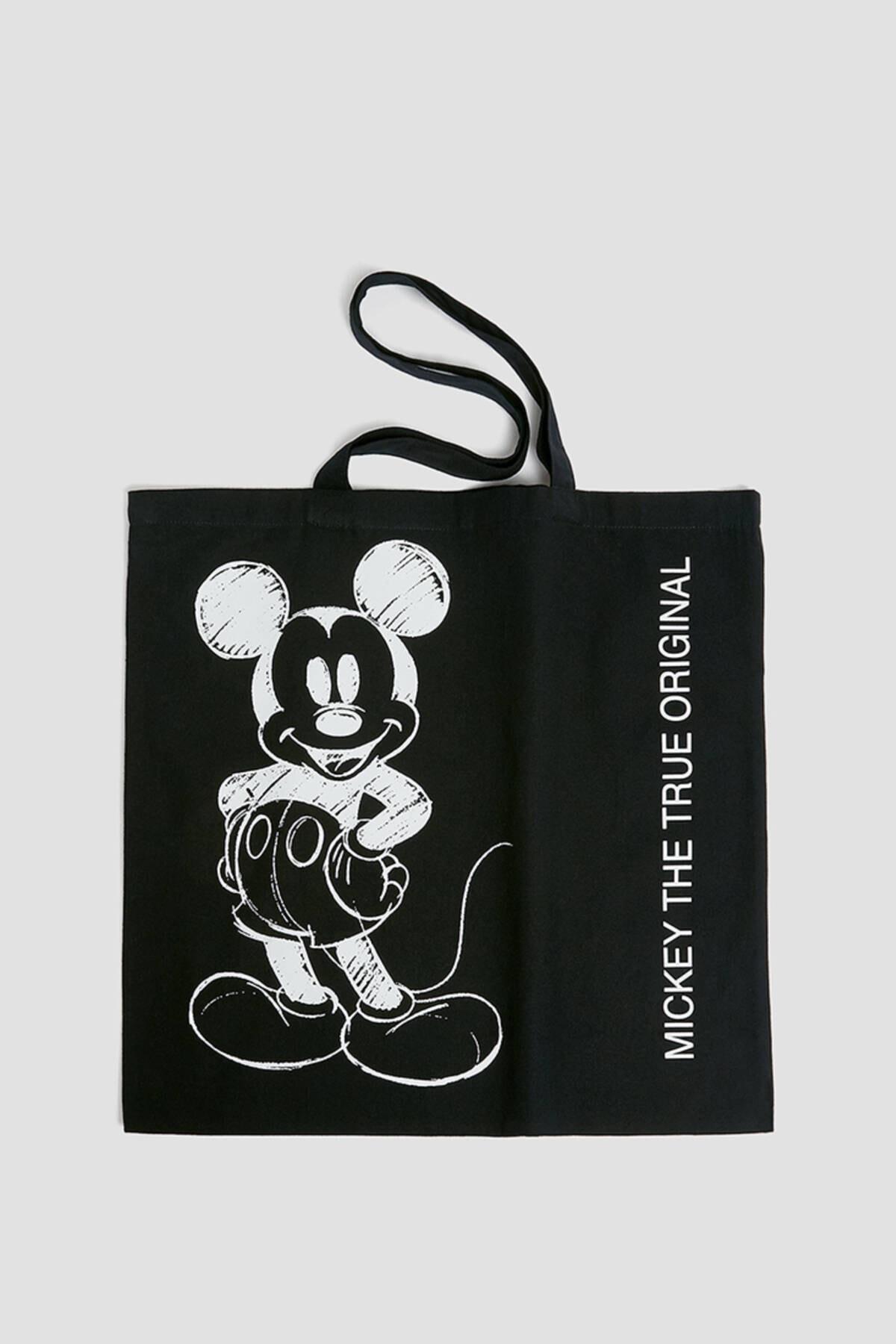 Pull & Bear Kadın Siyah Mickey Mouse Baskılı Tote Çanta 14115740 1