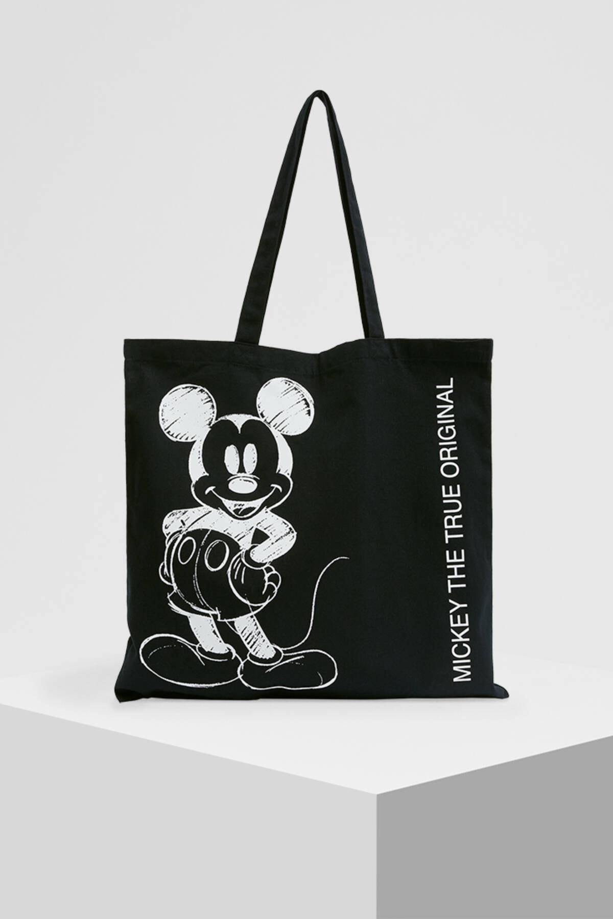 Pull & Bear Kadın Siyah Mickey Mouse Baskılı Tote Çanta 14115740 4