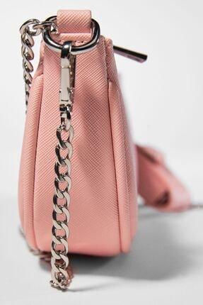 Bershka Kadın Pembe  Kılıf Detaylı Zincirli Askılı Mini Çanta 3