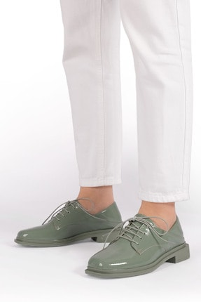 Marjin Kadın Yeşil Rugan Oxford Ayakkabı Rilen 3
