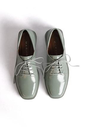 Marjin Kadın Yeşil Rugan Oxford Ayakkabı Rilen 4