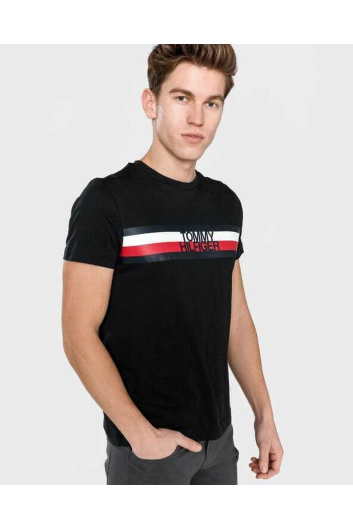 Erkek  Stripe Print Logo Men  T-shirt