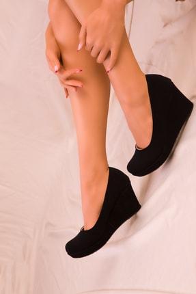 Soho Exclusive Siyah Süet Kadın Dolgu Topuklu Ayakkabı 15849 2