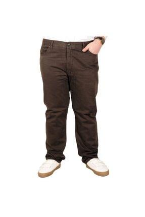 Picture of Büyük Beden Erkek Keten Pantolon 5 Cep 21003 Kahve