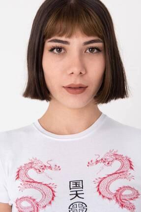 Addax Kadın Beyaz Baskılı Kısa T-Shirt P1020 - L10 Adx-0000022701 2