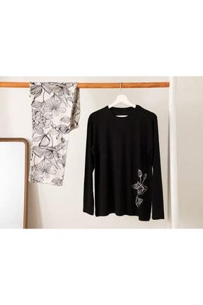 English Home Big Flower Viskon Pijama Takımı L-xl Siyah - Beyaz 0