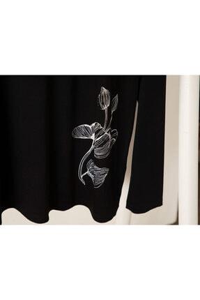English Home Big Flower Viskon Pijama Takımı L-xl Siyah - Beyaz 2