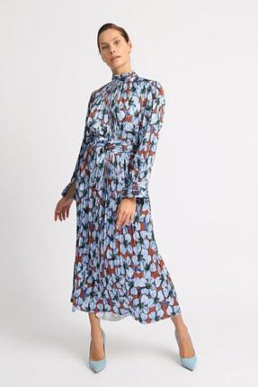 Esra İnceefe Kadın Piliseli Uzun Kollu Dik Yakalı Kuşaklı Uzun Çiçekli Elbise 0