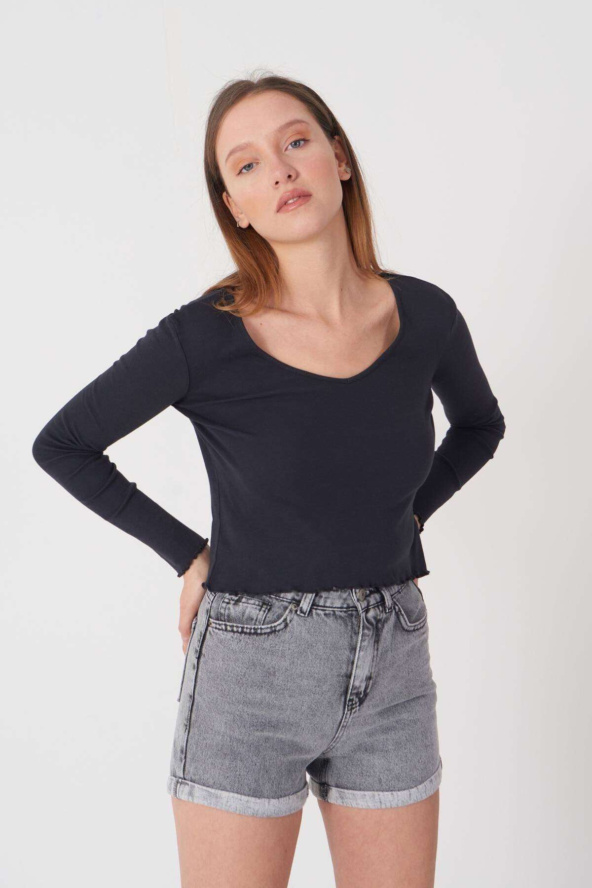 Addax Kadın Antrasit V Yaka Bluz P1085 - E11 Adx-0000023312 3
