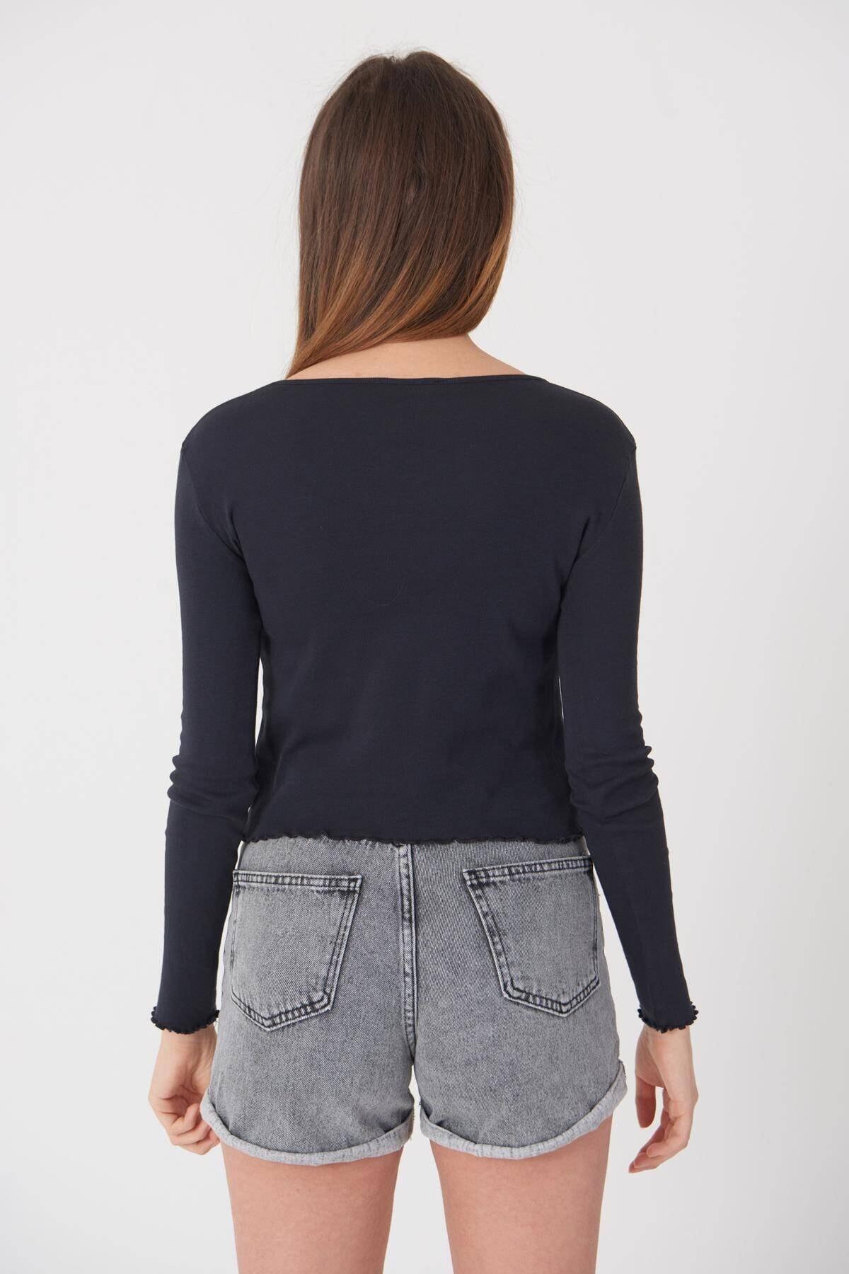 Addax Kadın Antrasit V Yaka Bluz P1085 - E11 Adx-0000023312 4