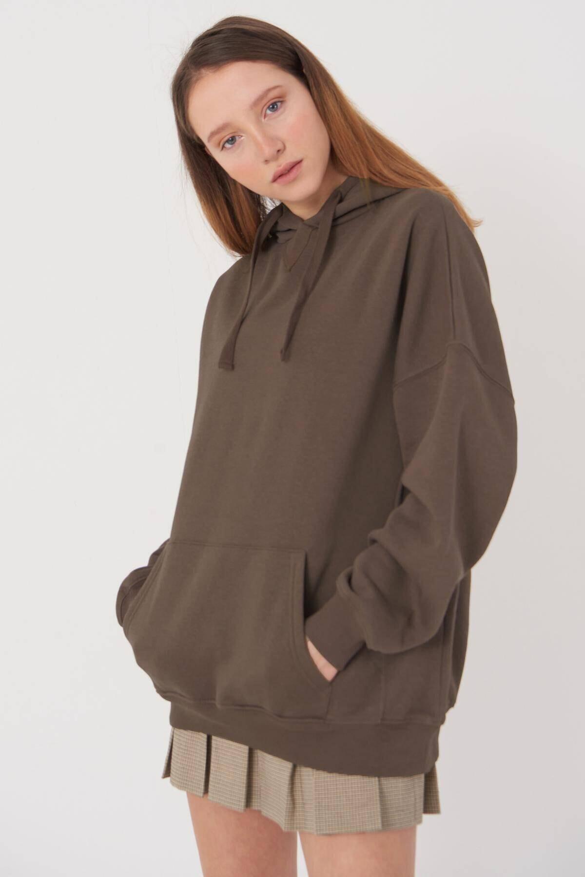 Addax Kadın Vizon Kapüşonlu Sweatshirt S0519 - P10V1 Adx-0000014040 2