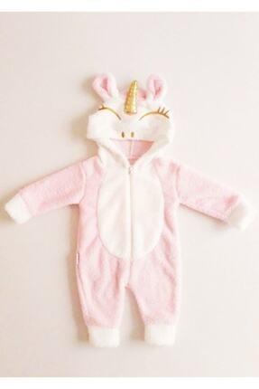 Bebesev Baby Kız Bebek Pembe Peluş Unicorn Tulum 0