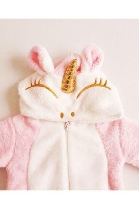 Bebesev Baby Kız Bebek Pembe Peluş Unicorn Tulum 1